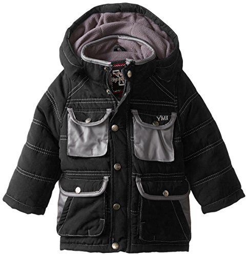 YMI Black Hood Jacket Boys' and Pleather Bubble with Detachable Pockets Contrasting TqTwRrv