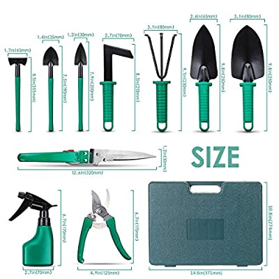 NASUM 10 Pieces Garden Tools Set - Gardening Gifts Tool Set with Trowel Pruners?Rakes?Shovels? Secateurs? Weeding Knife and more Vegetable Herb Garden Hand Tools .Gifts for Women and Man.