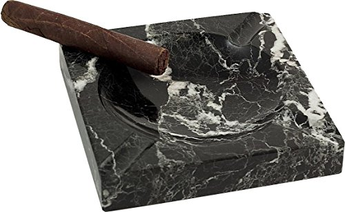 - Bey-Berk Square Solid Marble Four Cigar Ashtray, Black