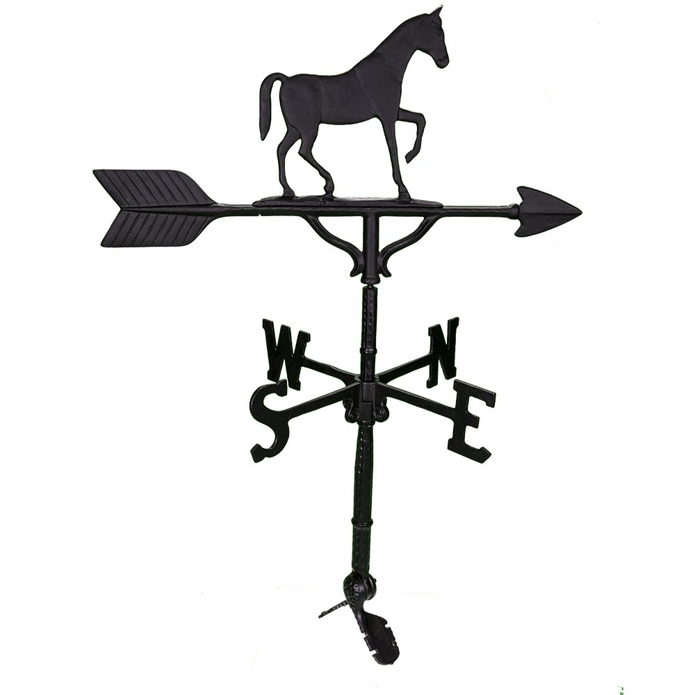 Montague Metal Products 32-Inch Weathervane with Satin Black Gaited Horse Ornament