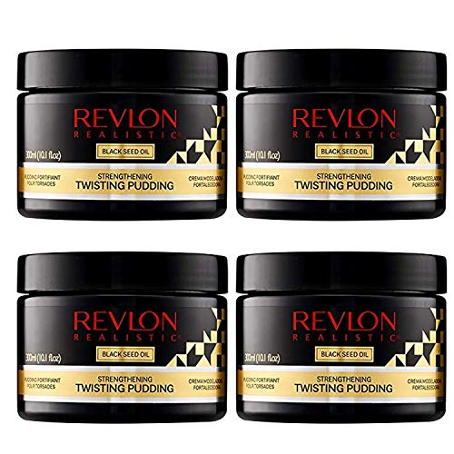 Revlon Realistic Black Seed Oil Strengthening Twisting Pudding Flake-free 10.1 Oz (300ml) Pack of 4