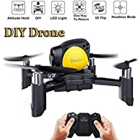 LiteBee DIY Mini Drone With Remote Control Headless Mode 2.4Ghz Nano LED RC Quadcopter (Altitude Hold, One Key To Return, 3D Roll MAV RTF) Good for beginners Gift by