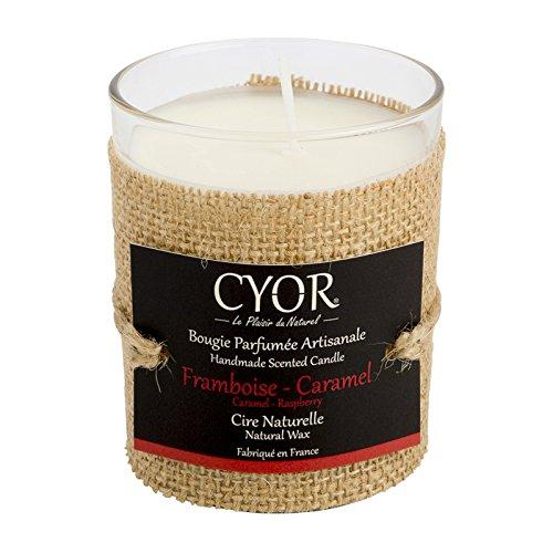 Bougie Parfumée FRAMBOISE-CARAMEL 130g - Cire Naturelle - Fabriquée à la main en France - CYOR