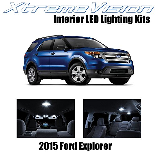 XtremeVision Interior LED for Ford Explorer 2015+ (11 Pieces) Pure White Interior LED Kit + Installation Tool ()
