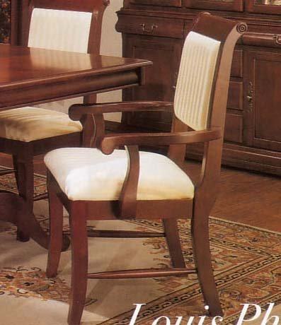 2 Cherry Finish Louis Phillipe Wood Dining Arm Chairs w/Padded ()