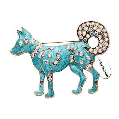 MANZHEN Dainty Enamel Crystal Rhinestone Dog Brooch Pin Jewelry Gift(brooch)