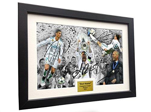 (Real Madrid 2018 CHAMPIONS LEAGUE CELEBRATION 12x8 A4 Signed Cristiano Ronaldo Gareth Bale Sergio Ramos Zinedine Zidane - Autographed Photo Photograph Picture Frame Soccer)