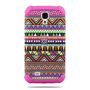 Casea Packing Tribal Rugged Hybrid Hot Pink Rubber Hard Cover Case For Samsung Galaxy S4