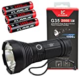 Klarus G35 Dual Switch Extended Reach LED Flashlight Compact Spotlight with 3x Klarus 3400mAh 18650 Rechargeable Batteries