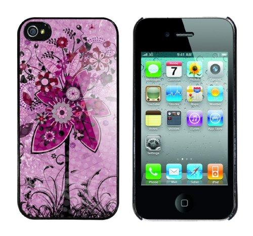 Iphone 4 Case Pink Trees Rahmen schwarz
