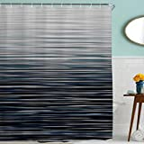 Modern Shower Curtains BROSHAN Modern Decor Shower Curtain Fabric,Ombre Stripe Personalized Abstract Striped Creative Bath Curtain Art Printing,Waterproof Bathroom Accessories Set with Hooks,72x72 Inch,Blue Grey