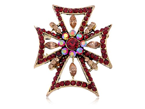 (Alilang Fashion Statement Cross Topaz Amber Autumn Ruby Red Collectible Costume Pin Brooch)