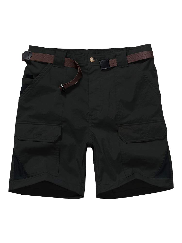 Men's Casual Elastic Waist Lightweight Water Resistant Quick Dry Stretch Cargo Fishing Hiking Shorts #6018-Black, 29 by Jessie Kidden