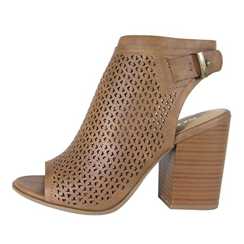 Tan Peep Toe (Soda FL57 Women's Perforated Backless Side Zipper Stacked Heel Ankle Booties, Color:TAN, Size:8)
