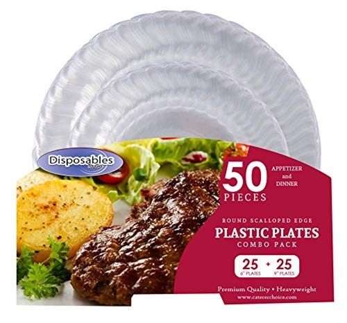 """Premium Flair Design Crystal clear Heavy-weight Combo Clear Round Plastic Party Plates 