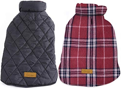 Kuoser Cozy Waterproof Windproof Reversible British Style Plaid Dog Vest Winter Coat Warm Dog Apparel for Cold Weather Dog Jacket for Small Medium Large Dogs with Furry Collar (XS – 3XL)