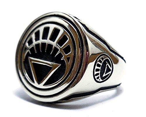 White Lantern Corps (Life) Ring - Green Lantern Ring - Sterling Silver 925 Sinestro Corps White Lantern Style Heavy, Silver rings