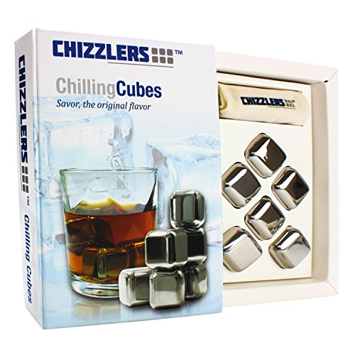 Amazon #LightningDeal 84% claimed: CHIZZLERS Premium Chilling Cubes- Set of 6 Durable Stainless Steel Cubes, Filled with Premium Cooling Liquid- Comes in Beautiful Designed Gift Box - Fashioned Muslin Pouch Included