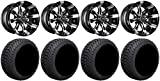 Bundle - 9 Items: Madjax Octane Mach Golf Wheels 12'' 215x35-12 Cruze Tires [for E-Z-GO & Club CarGolf Carts]