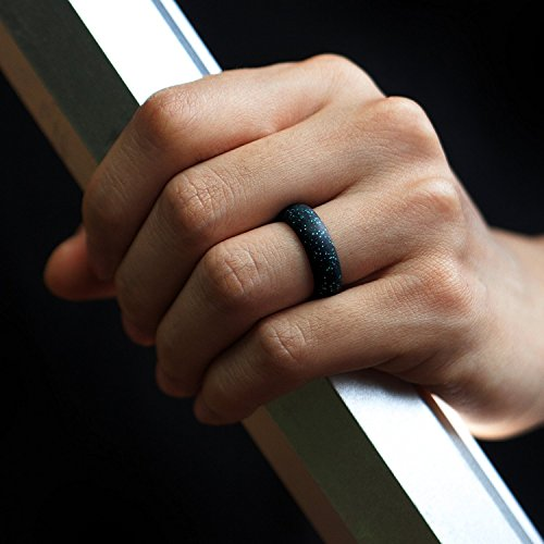 Silicone Wedding Ring Auorld Silicone Wedding Band 7 Pack for Men