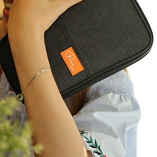 Passport Wallet, Travel Wallets, Passport Holder With Hand Strap, Stylish Credit Card Wallet For Men & Women, Trip Document Organizer Fits Your Phone And Tickets, by VanFn P.Travel Series (Black) by VanFn (Image #4)