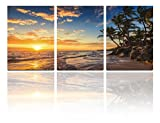 Mon Art 16x24 Inch x3 Pics Sandy Beach Coconut Palm Trees Blue Sea Golden Sun Fire Cloud Oil Painting Originality Wall Art Modern Canvas Decor Decoration Gallery No Stretched and UnFramed