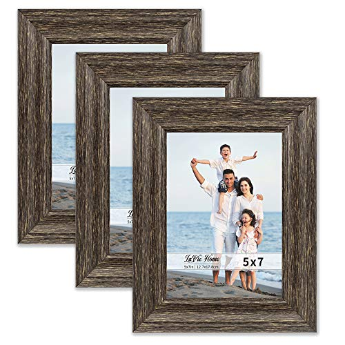 Brown Frame Set - LaVie Home 5x7 Picture Frames (3 Pack, Brown Wood Grain) Rustic Photo Frame Set with High Definition Glass for Wall Mount & Table Top Display