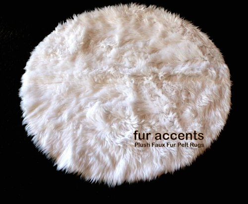 Fur Accents Faux Fur Sheepskin Round Accent Rug 5' Off White