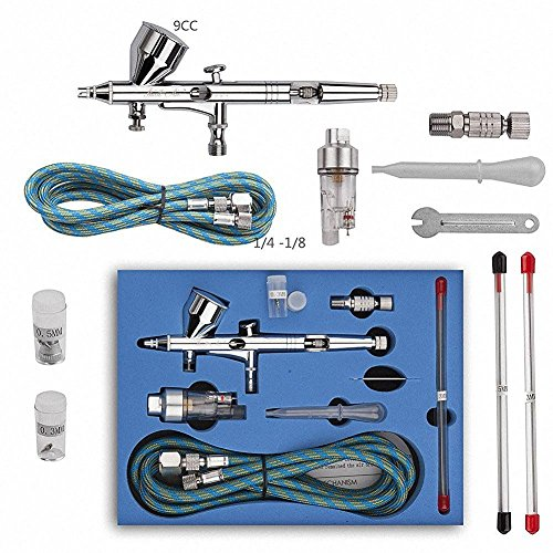 CNUALV 180K Airbrush Kit Dual Action Air Brush Kit Spray Gun Air Hose with 0.2mm/0.3mm/0.5mm Needle for Tattoo, Cake Decorating, Nail Beauty, Painting ()