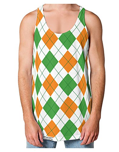 TOOLOUD Irish Colors Argyle Pattern Loose Tank Top Dual Sided L All Over Print