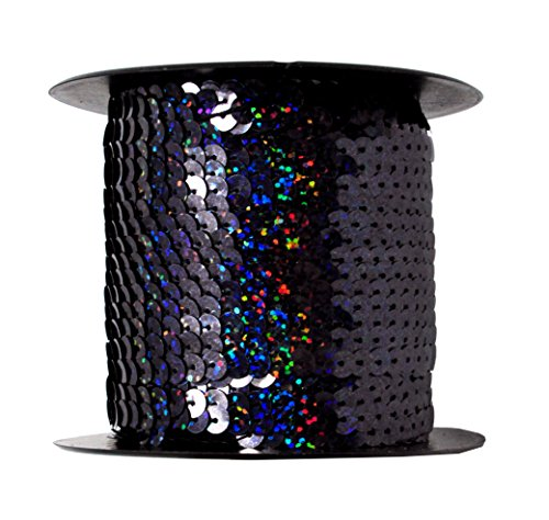 Mandala Crafts 6mm Flat Gold Silver Black Red Blue Trim Paillette Spangle Sequins String Ribbon Roll, 100 Yards (One Holographic Roll 100 Yards, Black) Black Ribbon Trim