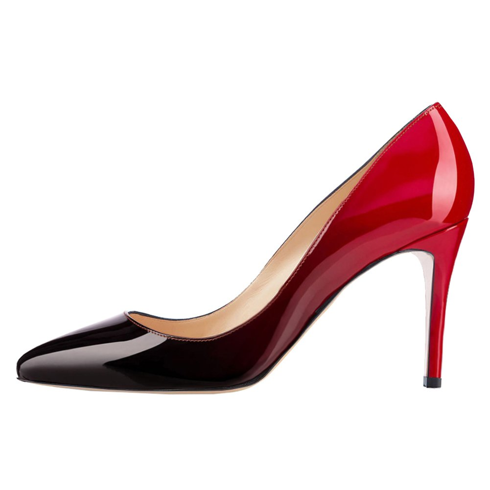 June in Love Women's Middle Heels Sexy Stiletto Shoes Pointy Toe Slip-On Office Pumps Red Black 8.5 US