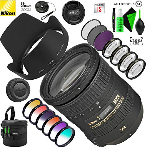 Nikon AF-S DX NIKKOR 18-200mm f/3.5-5.6G ED VR II Lens with Creative Filter Kit and Pro Cleaning Accessories