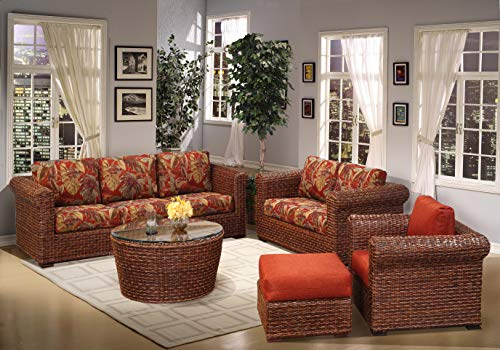kingrattan.com Rattan and Wicker 5 Piece Living Room Furniture Sofa Set
