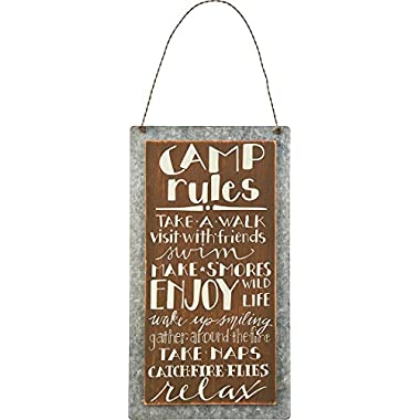 Primitives By Kathy Sign,  Camp Rules - Wood & Metal- 5.25  X 9.50  [Kitchen]