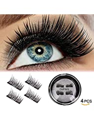 DeFitch Magnetic False Eyelashes, 3D Black Dual Magnetic, Ultra Thick Ultra Solf and Long for Entire Eyes, Glamorous, Natural Look, Handmade Reusable Eyelashes 1Pair/4Pcs (Black)