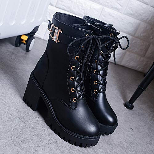 High Buckle Casual Style Women's Solid FALAIDUO Boots Boots British Up Heeled Classic Lace Martin Black Boots Platform Color 4HnOBgnqxw