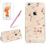 Flower Painting Case For Iphone 5 5S SE, Girlyard Pink Sakura Design Ultra Clear Case Crystal Slim Silicone Protective Bumper Case Cover Colorful Floral Ultra Thin Transparent Case Cover[Free Screen Protector]