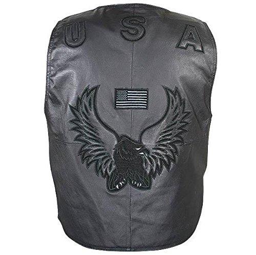 Mens American Eagle USA Black Leather Vest - 3X-Large (Leather Motorcycle Vest 3x)