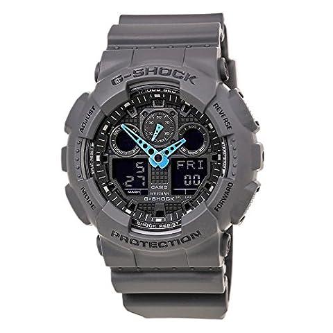 Casio Men's GA-100C-8ACR G-Shock Analog-Digital Watch, Grey/Neon Blue (Mens Digital Sports Watch G Shock)