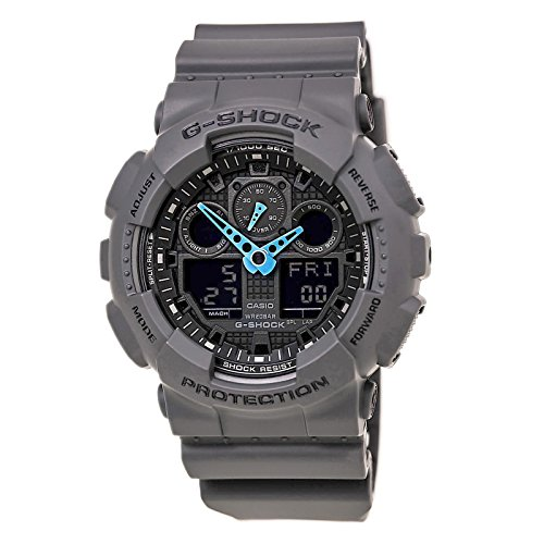Casio Men's GA-100C-8ACR G-Shock Analog-Digital Watch, Grey/Neon Blue