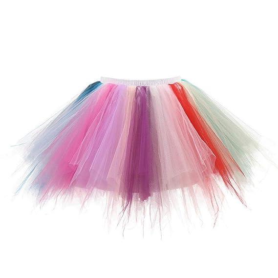 Falda de Tutu Mujer, SHOBDW Pettiskirt Colores de Gasa Plisada ...