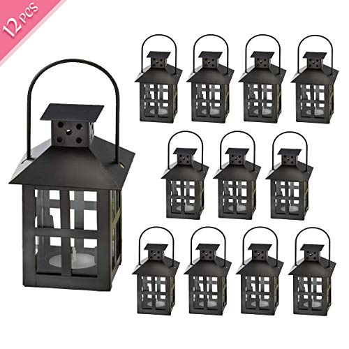 Kate Aspen Decorative Lanterns - 12pcs - Distressed Metal Vintage Mini Wedding Lantern, Centerpiece for Wedding Table, Accent Piece and Home Decor, Wedding Favors and Baby Shower Favors (Black) (Mini Lanterns Wedding)