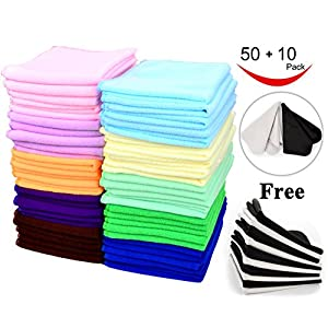 60 Pcs(50+10) - Microfiber Cleaning Cloth Pack - for cleaning & cars & glasses - Best Value & Quality