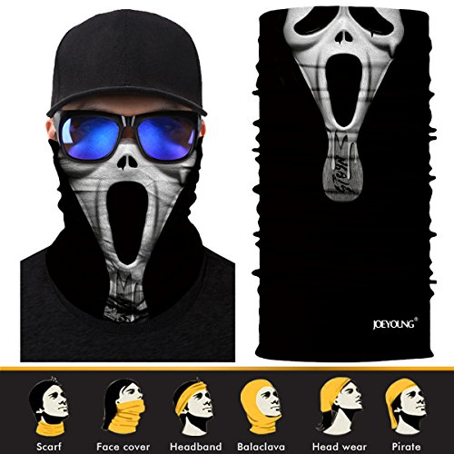 Men Try On Women's Halloween Costumes (3D Face Sun Mask, Neck Gaiter, Headwear, Magic Scarf, Balaclava, Bandana, Headband for Fishing, Hunting, Yard work, Running, Motorcycling, UV Protection, Great for Men & Women)