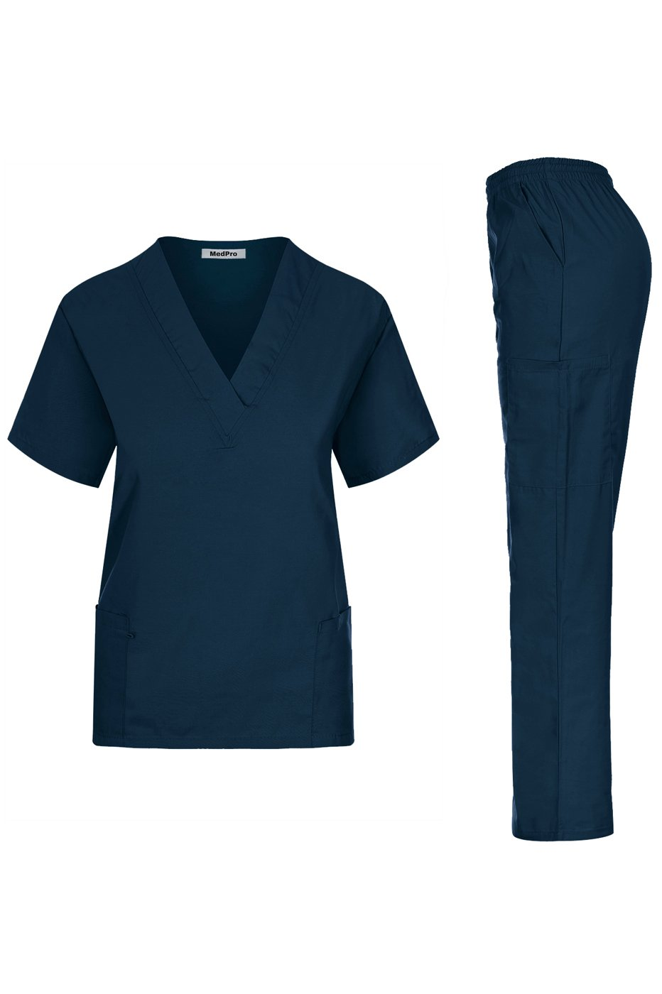 MedPro Women's Unisex Solid Medical Scrub Set V-Neck Top and Cargo Pants Dark Green 2XL (GT-766)