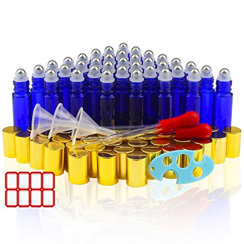 36pcs 10ml Glass Roller Bottles for Essential Oil with 3 Plastic Funnels, 2 3ml Glass Pipettes and 1 Opener by Superlele