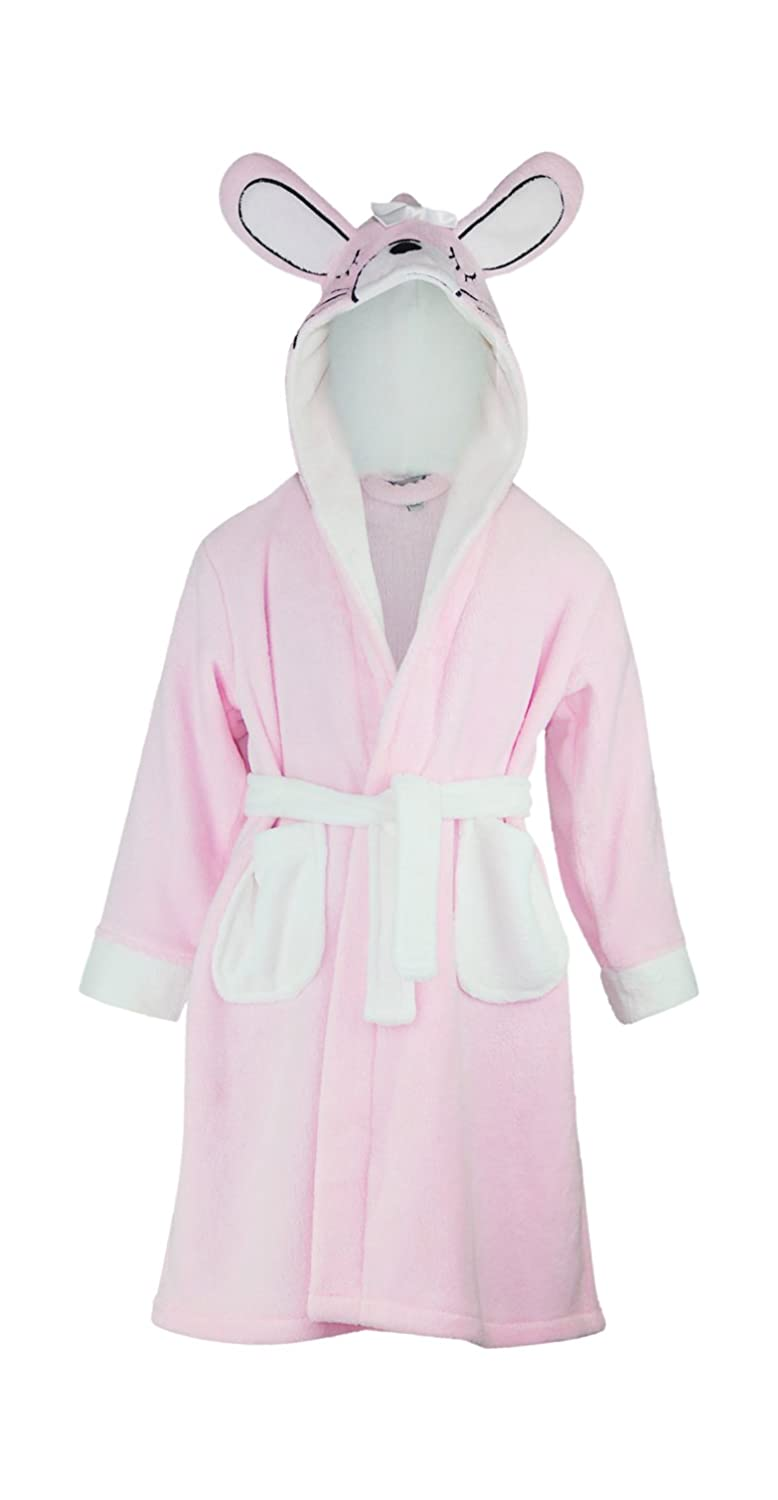 Minikidz Girls Bunny Dressing Gown Robe Animal Ears Hooded Fleece ...