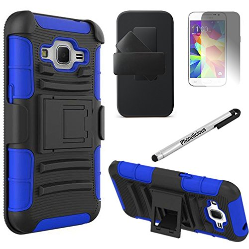 SAMSUNG GALAXY J1 CASE, Phonelicious® For SAMSUNG GALAXY J1 J100 (VERIZON) Xtreme Heavy Duty Hybrid Armor Dual Layer Rhino Kickstand Belt Holster Clip Combo Rugged Case Tuff Robust + LCD Clear Screen Phone Protector Combo & Phonelicious® Pen Stylus (BLUE EXTREME)