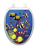 Coral Reef Toilet Tattoo TT-1016-O Elongated Beach Fish Theme Cover Bathroom